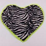 Sottociotola a forma di cuore fantasia zebrata (bordi giallo fluo)