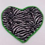 Sottociotola a forma di cuore fantasia zebrata (bordi verdi)