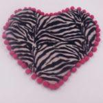 Sottociotola a forma di cuore fantasia zebrata (bordi rosa)