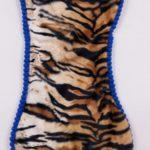 Sottociotola a forma di osso fantasia animalier tigrata (bordi blu) double face