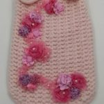 Maglioncino lana rosa con fiori organza