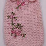 Maglioncino lana rosa con fiori raso
